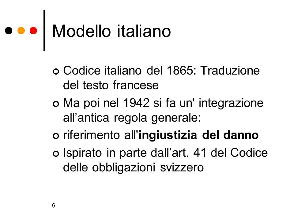 6 Modello italiano Codice italiano del 1865: Traduzione del testo francese Ma poi nel 1942 si fa un' integrazione allantica regola generale: riferimen