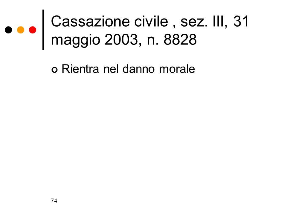 74 Cassazione civile, sez. III, 31 maggio 2003, n. 8828 Rientra nel danno morale