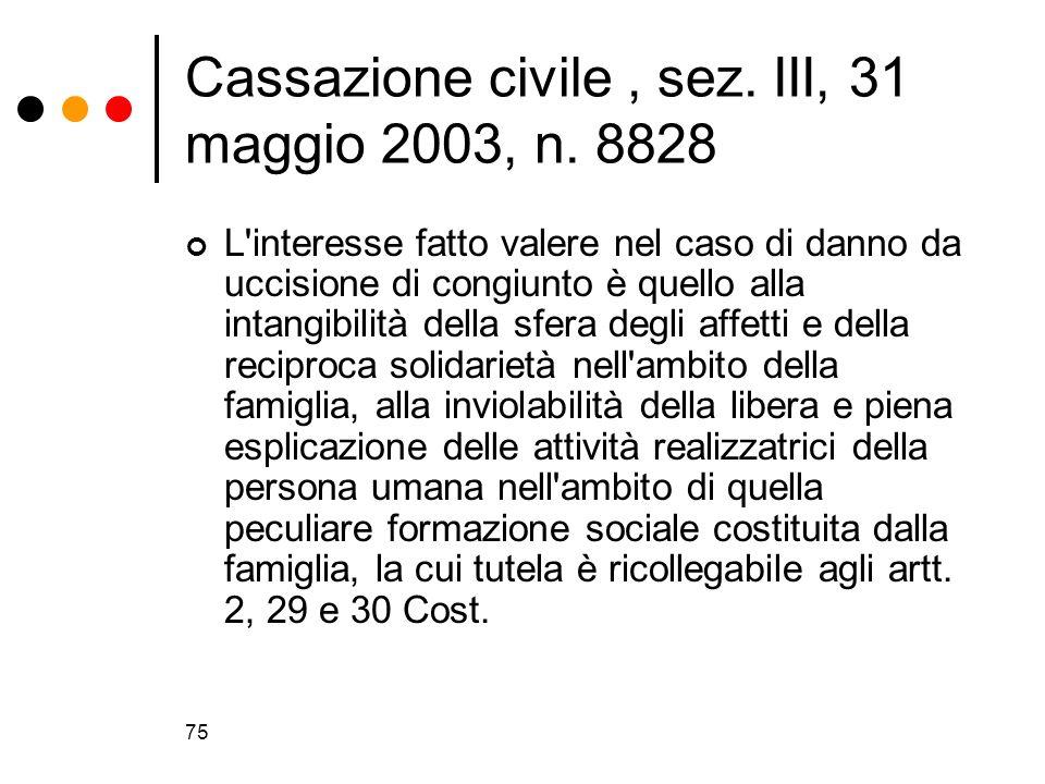 75 Cassazione civile, sez. III, 31 maggio 2003, n. 8828 L'interesse fatto valere nel caso di danno da uccisione di congiunto è quello alla intangibili