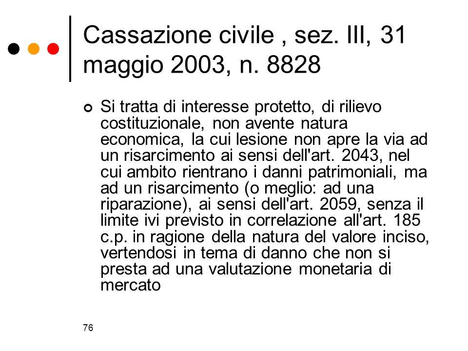 76 Cassazione civile, sez. III, 31 maggio 2003, n. 8828 Si tratta di interesse protetto, di rilievo costituzionale, non avente natura economica, la cu