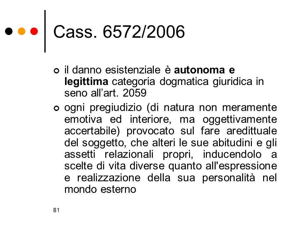 81 Cass. 6572/2006 il danno esistenziale è autonoma e legittima categoria dogmatica giuridica in seno allart. 2059 ogni pregiudizio (di natura non mer