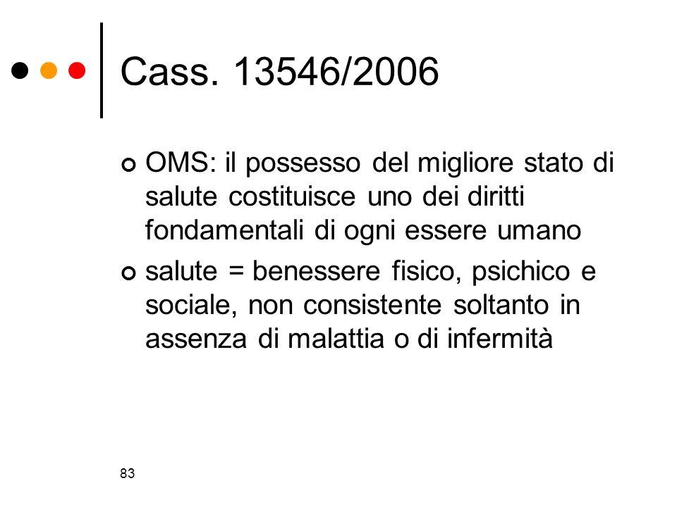 83 Cass. 13546/2006 OMS: il possesso del migliore stato di salute costituisce uno dei diritti fondamentali di ogni essere umano salute = benessere fis