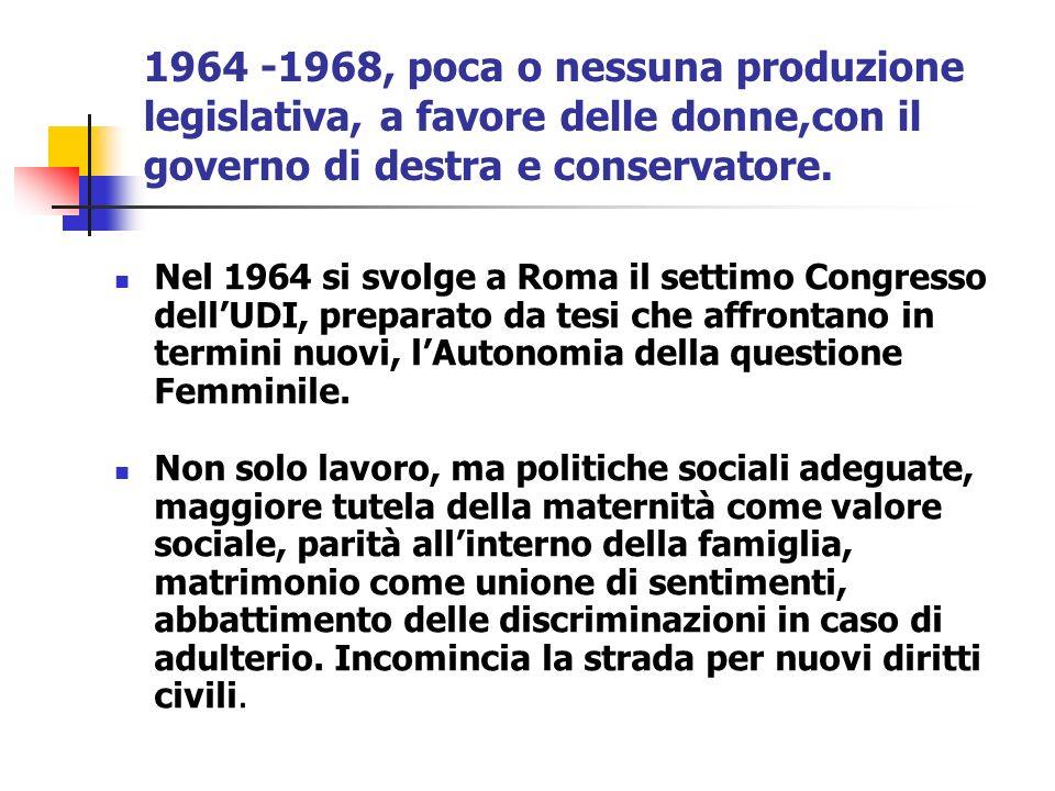 1964 -1968, poca o nessuna produzione legislativa, a favore delle donne,con il governo di destra e conservatore. Nel 1964 si svolge a Roma il settimo