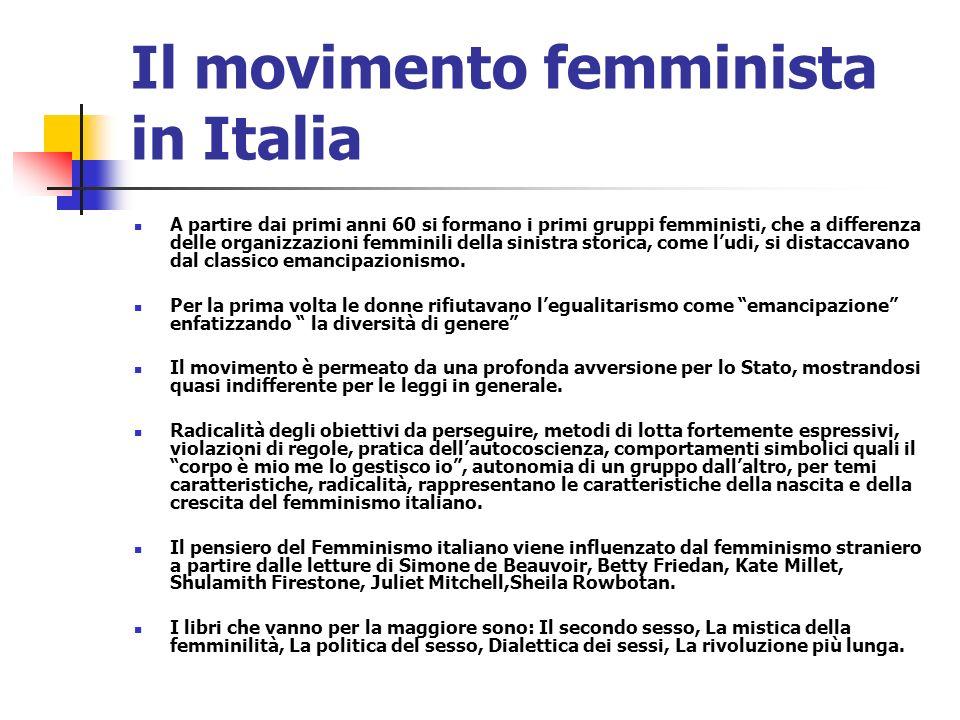 Il movimento femminista in Italia A partire dai primi anni 60 si formano i primi gruppi femministi, che a differenza delle organizzazioni femminili de
