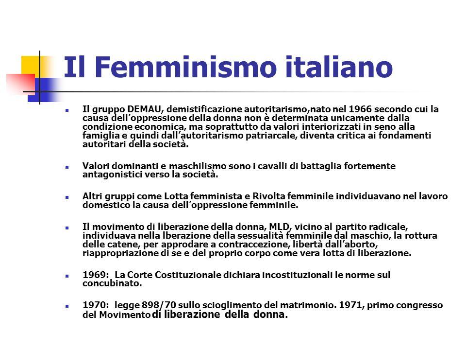 Il Femminismo italiano Il gruppo DEMAU, demistificazione autoritarismo,nato nel 1966 secondo cui la causa delloppressione della donna non è determinat
