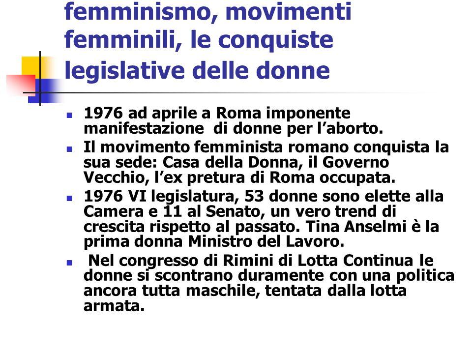 femminismo, movimenti femminili, le conquiste legislative delle donne 1976 ad aprile a Roma imponente manifestazione di donne per laborto. Il moviment