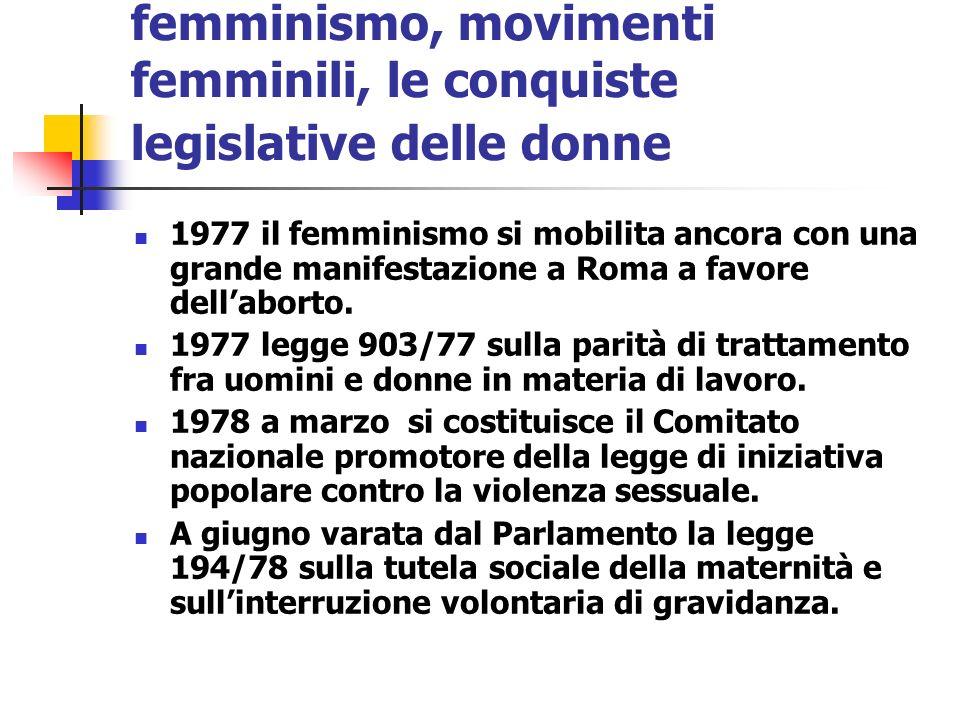 femminismo, movimenti femminili, le conquiste legislative delle donne 1977 il femminismo si mobilita ancora con una grande manifestazione a Roma a fav