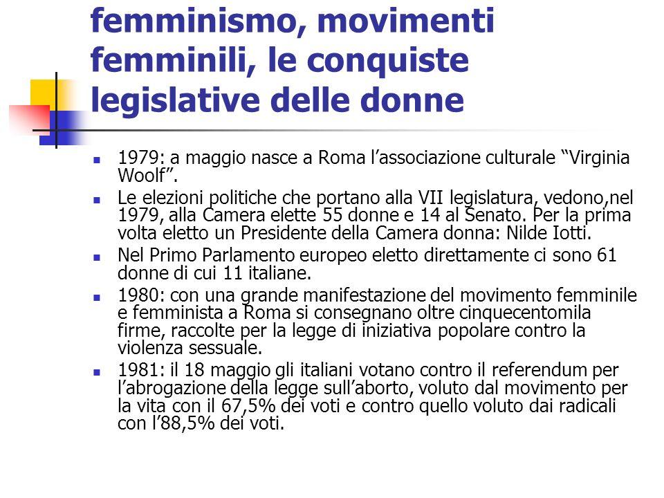 femminismo, movimenti femminili, le conquiste legislative delle donne 1979: a maggio nasce a Roma lassociazione culturale Virginia Woolf. Le elezioni