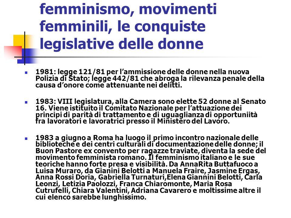 femminismo, movimenti femminili, le conquiste legislative delle donne 1981: legge 121/81 per lammissione delle donne nella nuova Polizia di Stato; leg
