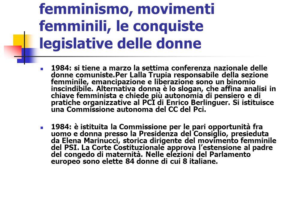 femminismo, movimenti femminili, le conquiste legislative delle donne 1984: si tiene a marzo la settima conferenza nazionale delle donne comuniste.Per