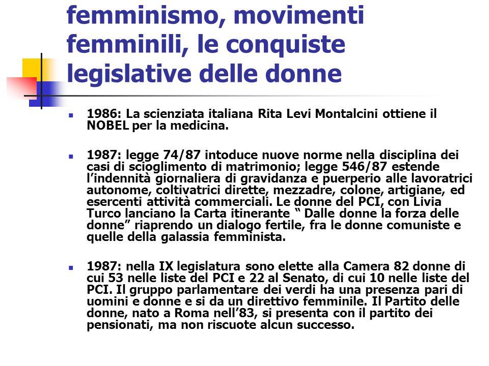 femminismo, movimenti femminili, le conquiste legislative delle donne 1986: La scienziata italiana Rita Levi Montalcini ottiene il NOBEL per la medici