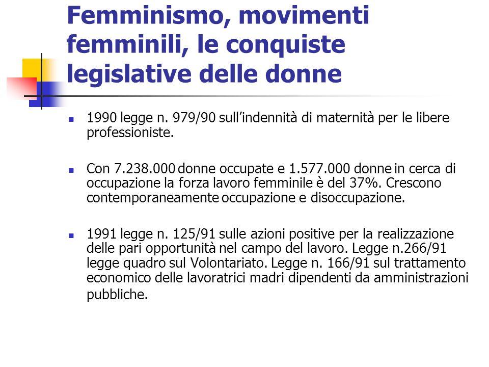 Femminismo, movimenti femminili, le conquiste legislative delle donne 1990 legge n. 979/90 sullindennità di maternità per le libere professioniste. Co