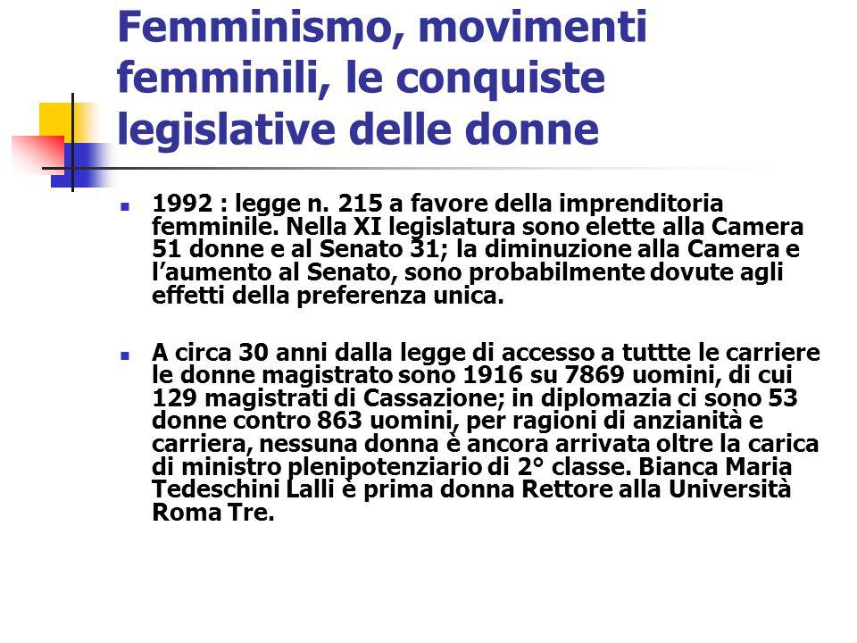 Femminismo, movimenti femminili, le conquiste legislative delle donne 1992 : legge n. 215 a favore della imprenditoria femminile. Nella XI legislatura