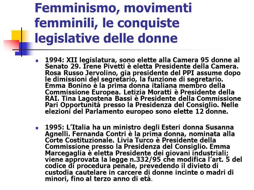 Femminismo, movimenti femminili, le conquiste legislative delle donne 1994: XII legislatura, sono elette alla Camera 95 donne al Senato 29. Irene Pive