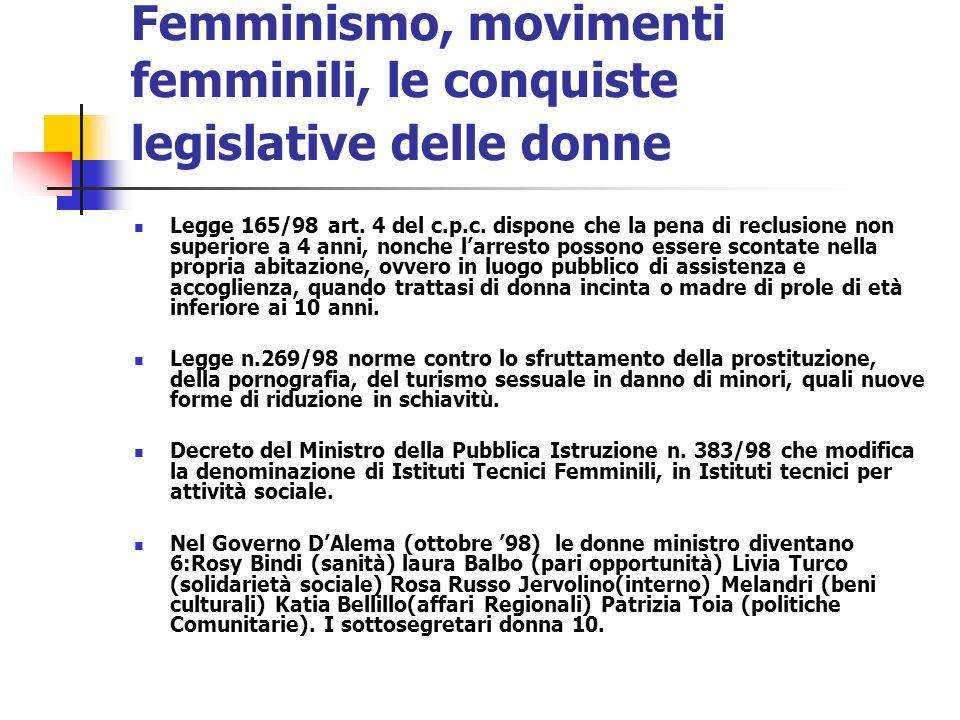 Femminismo, movimenti femminili, le conquiste legislative delle donne Legge 165/98 art. 4 del c.p.c. dispone che la pena di reclusione non superiore a