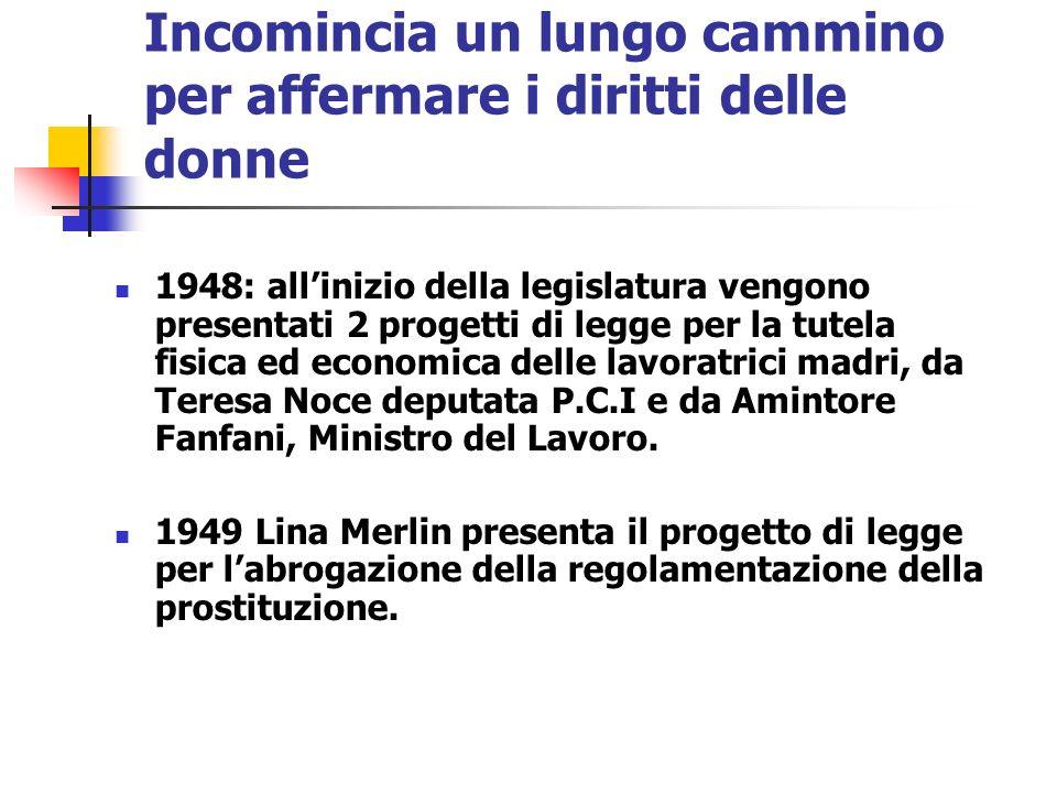 Incomincia un lungo cammino per affermare i diritti delle donne 1948: allinizio della legislatura vengono presentati 2 progetti di legge per la tutela