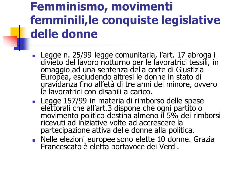 Femminismo, movimenti femminili,le conquiste legislative delle donne Legge n. 25/99 legge comunitaria, lart. 17 abroga il divieto del lavoro notturno
