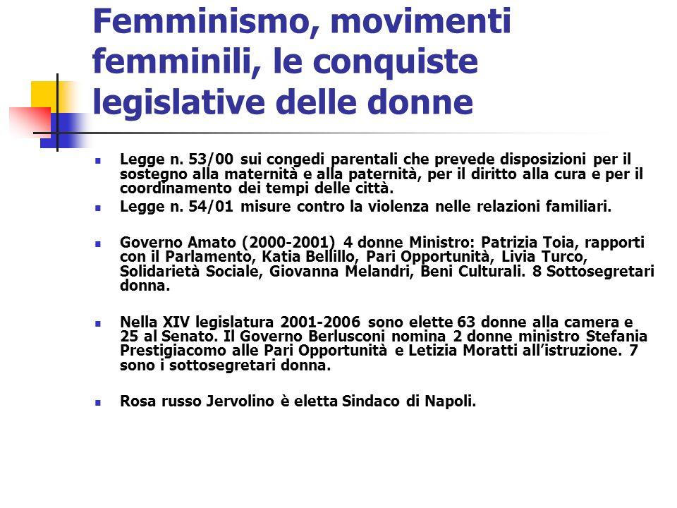 Femminismo, movimenti femminili, le conquiste legislative delle donne Legge n. 53/00 sui congedi parentali che prevede disposizioni per il sostegno al