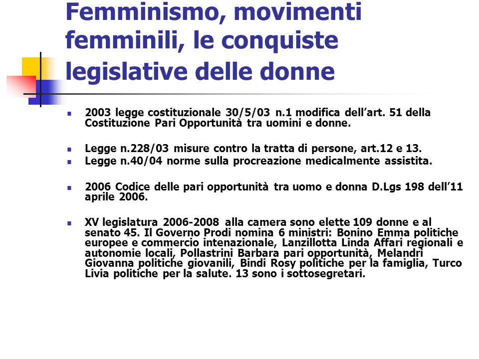 Femminismo, movimenti femminili, le conquiste legislative delle donne 2003 legge costituzionale 30/5/03 n.1 modifica dellart. 51 della Costituzione Pa