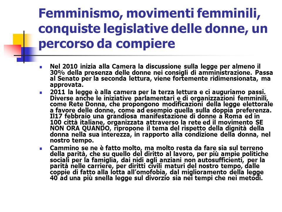 Femminismo, movimenti femminili, conquiste legislative delle donne, un percorso da compiere Nel 2010 inizia alla Camera la discussione sulla legge per