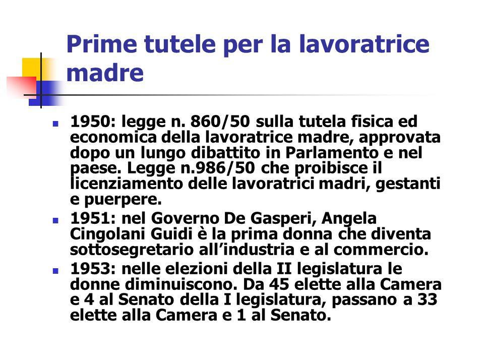 Prime tutele per la lavoratrice madre 1950: legge n. 860/50 sulla tutela fisica ed economica della lavoratrice madre, approvata dopo un lungo dibattit