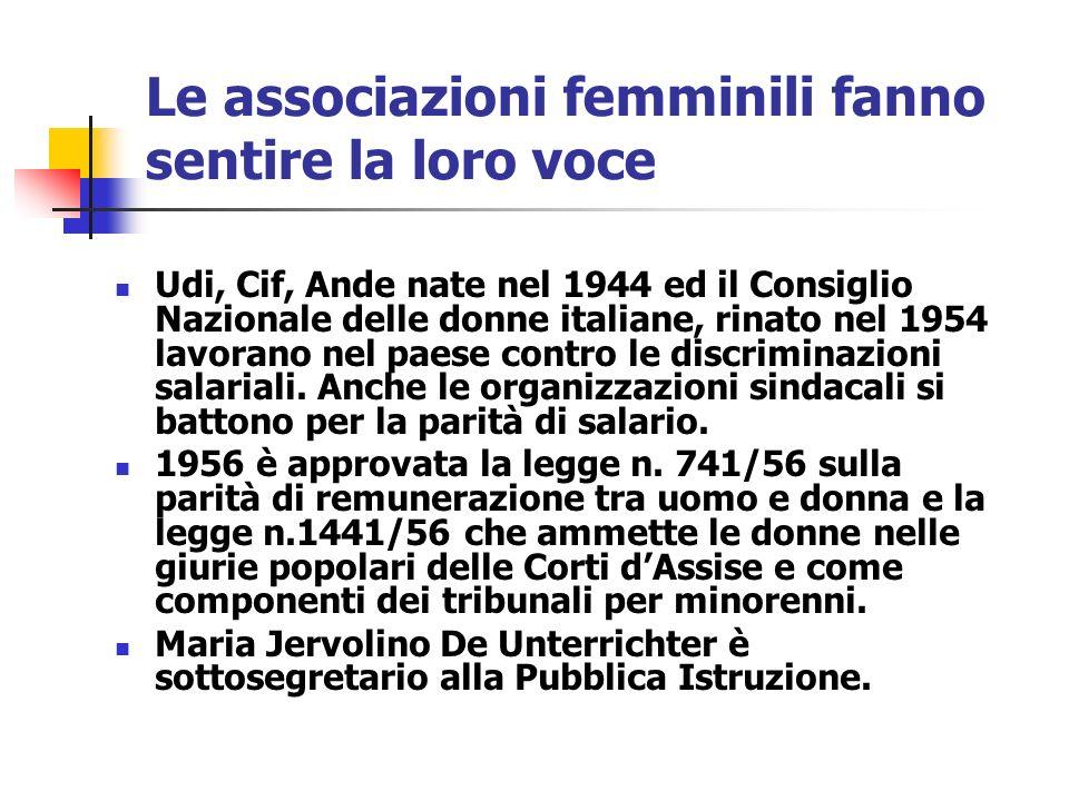 Le associazioni femminili fanno sentire la loro voce Udi, Cif, Ande nate nel 1944 ed il Consiglio Nazionale delle donne italiane, rinato nel 1954 lavo