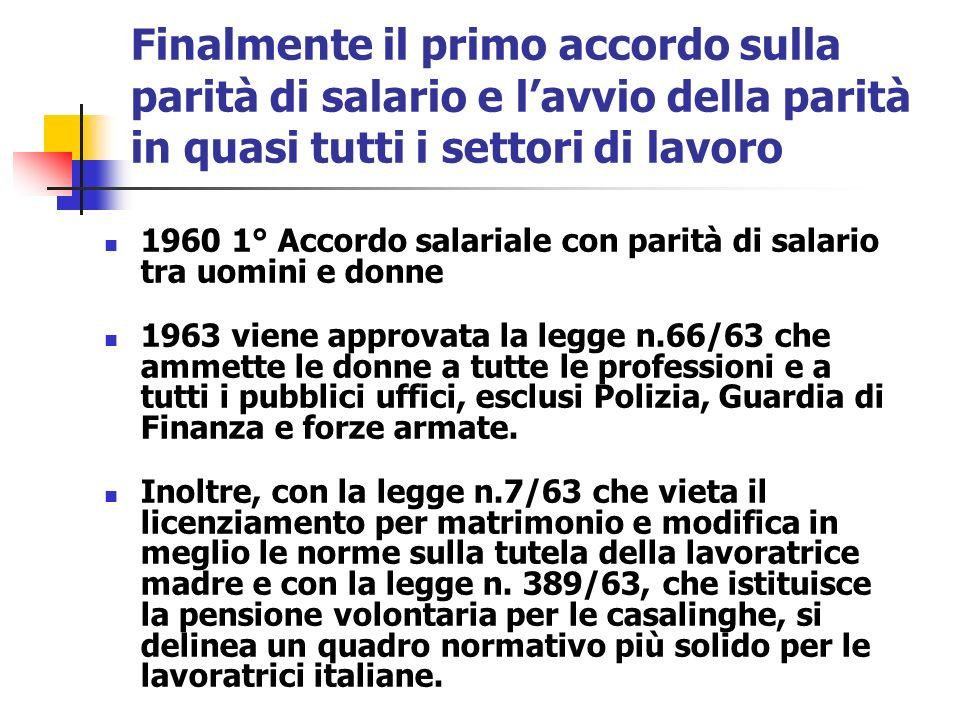 Finalmente il primo accordo sulla parità di salario e lavvio della parità in quasi tutti i settori di lavoro 1960 1° Accordo salariale con parità di s