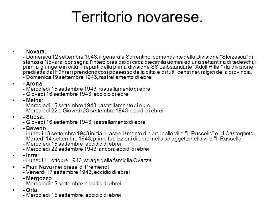 Territorio novarese. - Novara: - Domenica 12 settembre 1943, il generale Sorrentino, comandante della Divisione