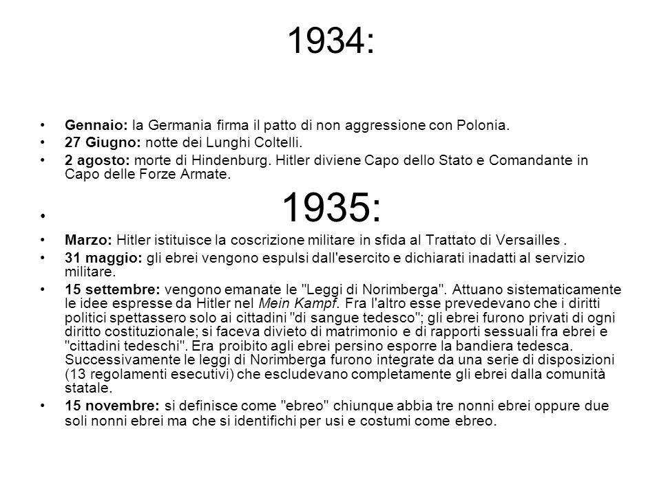 1934: Gennaio: la Germania firma il patto di non aggressione con Polonia. 27 Giugno: notte dei Lunghi Coltelli. 2 agosto: morte di Hindenburg. Hitler
