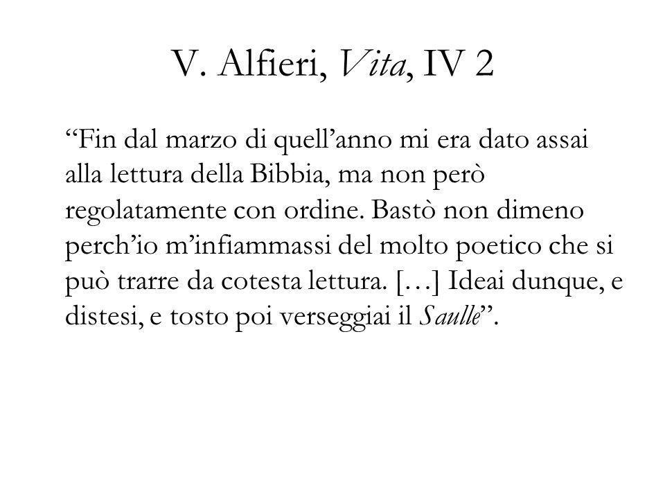 V. Alfieri, Vita, IV 2 Fin dal marzo di quellanno mi era dato assai alla lettura della Bibbia, ma non però regolatamente con ordine. Bastò non dimeno