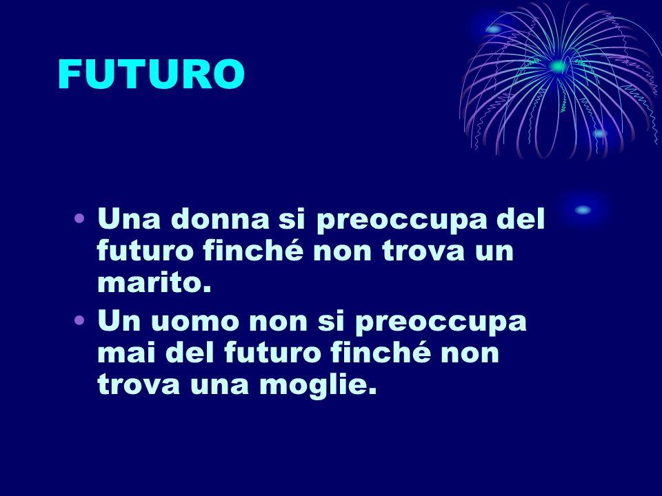 FUTURO Una donna si preoccupa del futuro finché non trova un marito. Un uomo non si preoccupa mai del futuro finché non trova una moglie.