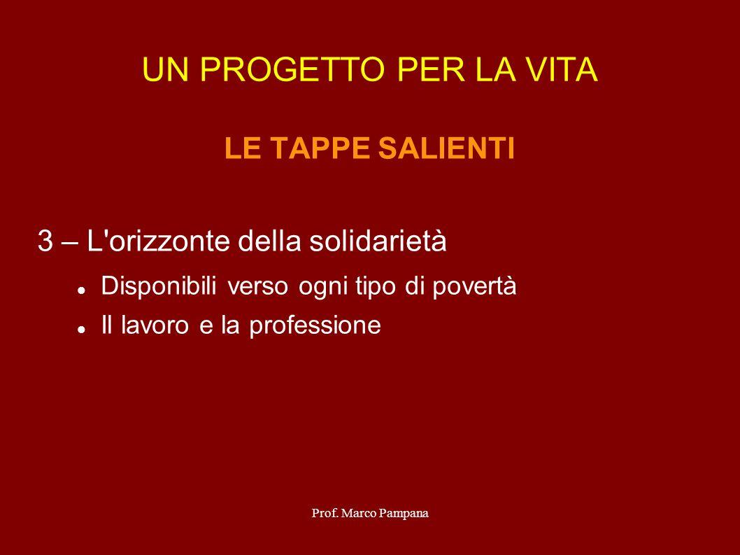 Prof. Marco Pampana UN PROGETTO PER LA VITA LE TAPPE SALIENTI 3 – L'orizzonte della solidarietà Disponibili verso ogni tipo di povertà Il lavoro e la