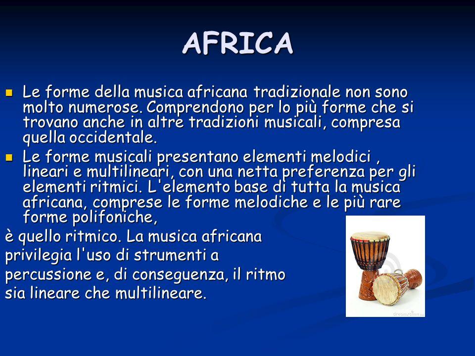 AFRICA Le forme della musica africana tradizionale non sono molto numerose. Comprendono per lo più forme che si trovano anche in altre tradizioni musi