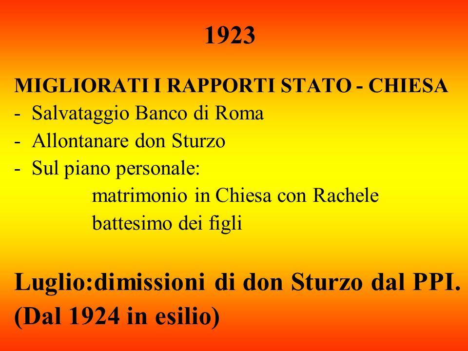 1923 MIGLIORATI I RAPPORTI STATO - CHIESA -Salvataggio Banco di Roma -Allontanare don Sturzo -Sul piano personale: matrimonio in Chiesa con Rachele ba