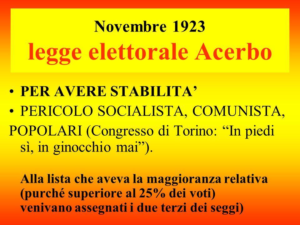 Novembre 1923 legge elettorale Acerbo PER AVERE STABILITA PERICOLO SOCIALISTA, COMUNISTA, POPOLARI (Congresso di Torino: In piedi sì, in ginocchio mai