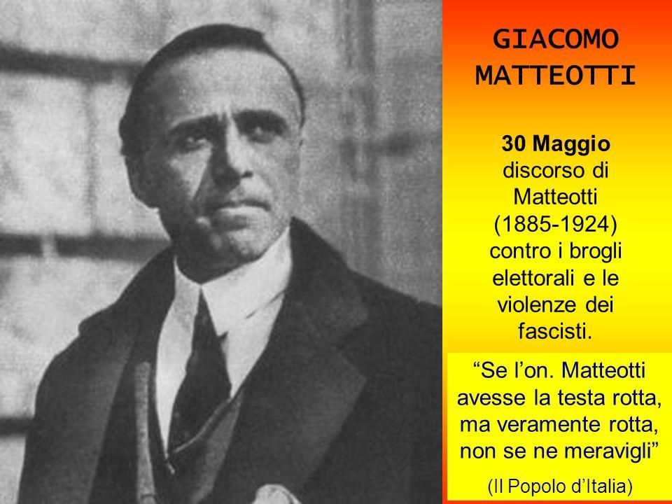 GIACOMO MATTEOTTI 30 Maggio discorso di Matteotti (1885-1924) contro i brogli elettorali e le violenze dei fascisti. Se lon. Matteotti avesse la testa