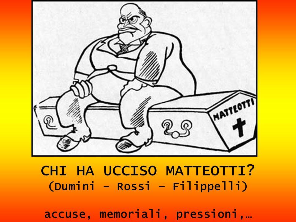 CHI HA UCCISO MATTEOTTI? (Dumini – Rossi – Filippelli) accuse, memoriali, pressioni,…