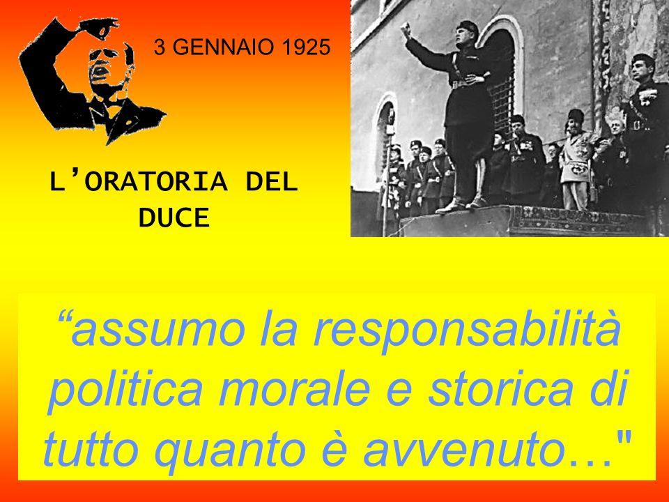 LORATORIA DEL DUCE assumo la responsabilità politica morale e storica di tutto quanto è avvenuto…