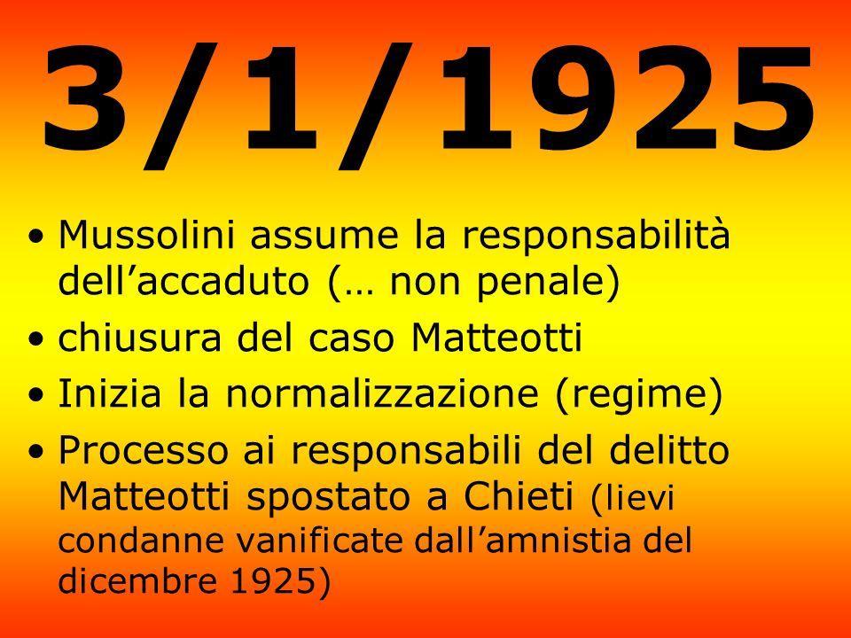 3/1/1925 Mussolini assume la responsabilità dellaccaduto (… non penale) chiusura del caso Matteotti Inizia la normalizzazione (regime) Processo ai res