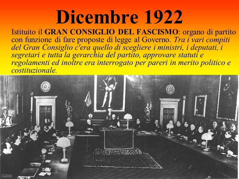 Dicembre 1922 Istituito il GRAN CONSIGLIO DEL FASCISMO: organo di partito con funzione di fare proposte di legge al Governo. Tra i vari compiti del Gr