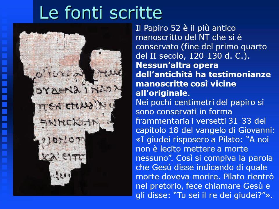 Il Papiro 52 è il più antico manoscritto del NT che si è conservato (fine del primo quarto del II secolo, 120-130 d. C.). Nessunaltra opera dellantich