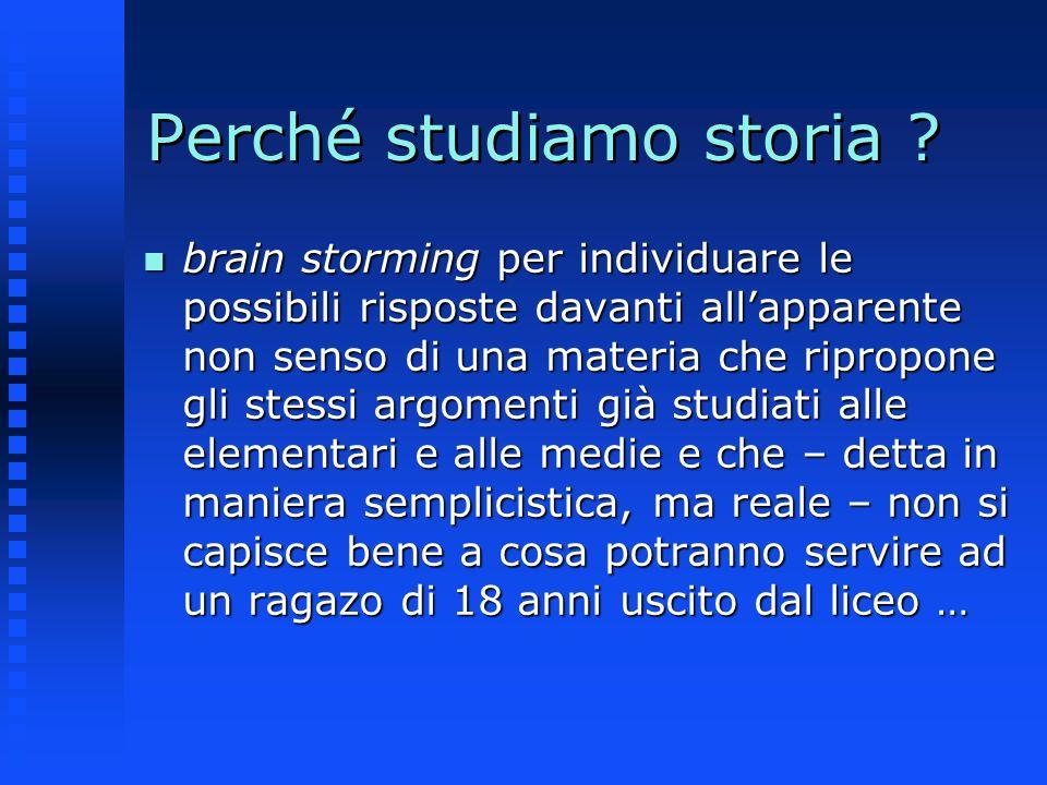 Perché studiamo storia ? n brain storming per individuare le possibili risposte davanti allapparente non senso di una materia che ripropone gli stessi