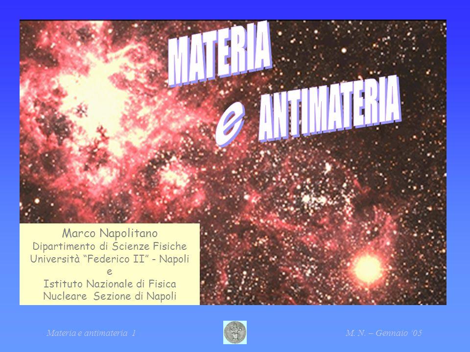 Materia e antimateria 1M. N. – Gennaio 05 Marco Napolitano Dipartimento di Scienze Fisiche Università Federico II - Napoli e Istituto Nazionale di Fis