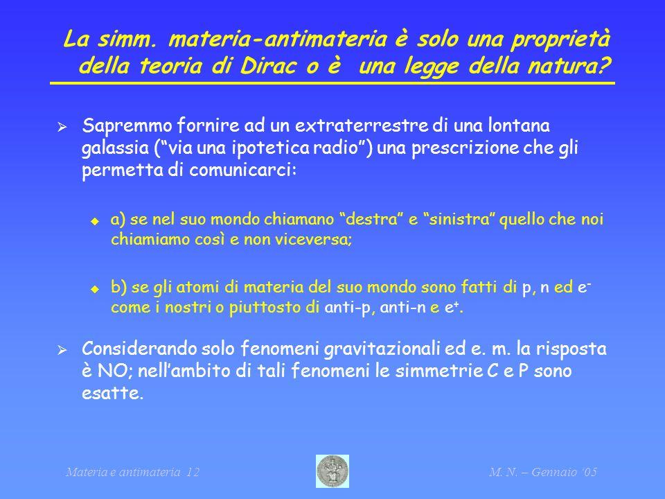 Materia e antimateria 12M. N. – Gennaio 05 La simm. materia-antimateria è solo una proprietà della teoria di Dirac o è una legge della natura? Sapremm