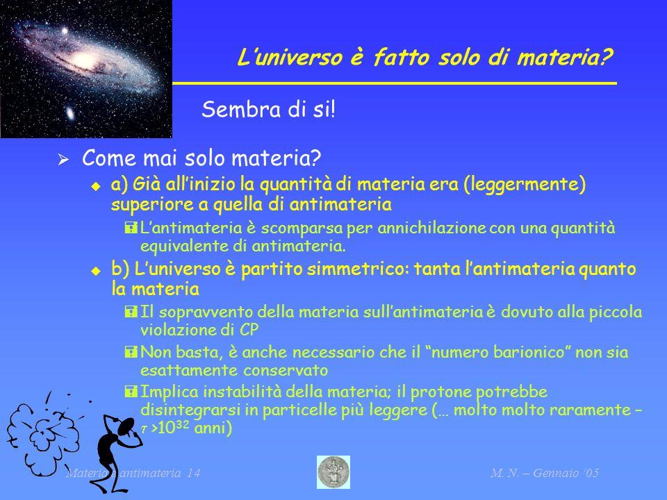 Materia e antimateria 14M. N. – Gennaio 05 Luniverso è fatto solo di materia? Sembra di si! Come mai solo materia? a) Già allinizio la quantità di mat