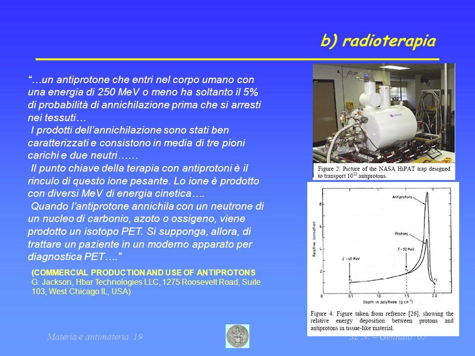 Materia e antimateria 19M. N. – Gennaio 05 b) radioterapia …un antiprotone che entri nel corpo umano con una energia di 250 MeV o meno ha soltanto il