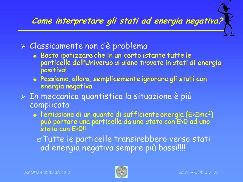 Materia e antimateria 5M. N. – Gennaio 05 Come interpretare gli stati ad energia negativa? Classicamente non cè problema Basta ipotizzare che in un ce