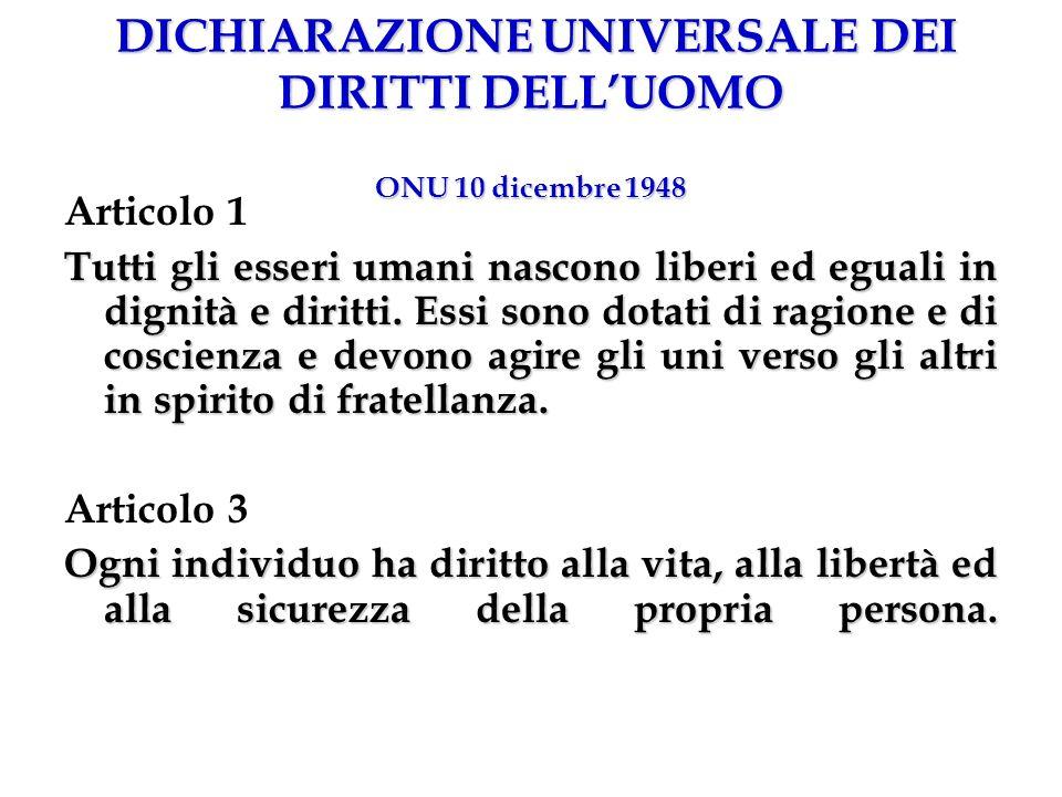 DICHIARAZIONE UNIVERSALE DEI DIRITTI DELLUOMO ONU 10 dicembre 1948 Articolo 1 Tutti gli esseri umani nascono liberi ed eguali in dignità e diritti. Es