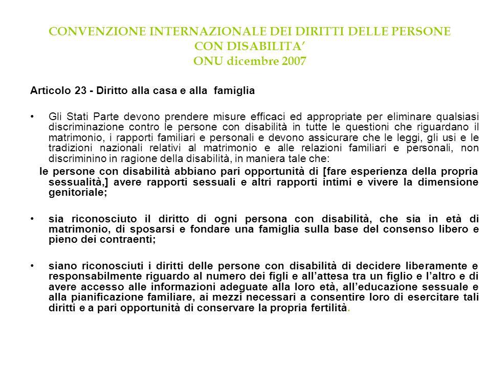CONVENZIONE INTERNAZIONALE DEI DIRITTI DELLE PERSONE CON DISABILITA ONU dicembre 2007 Articolo 23 - Diritto alla casa e alla famiglia Gli Stati Parte