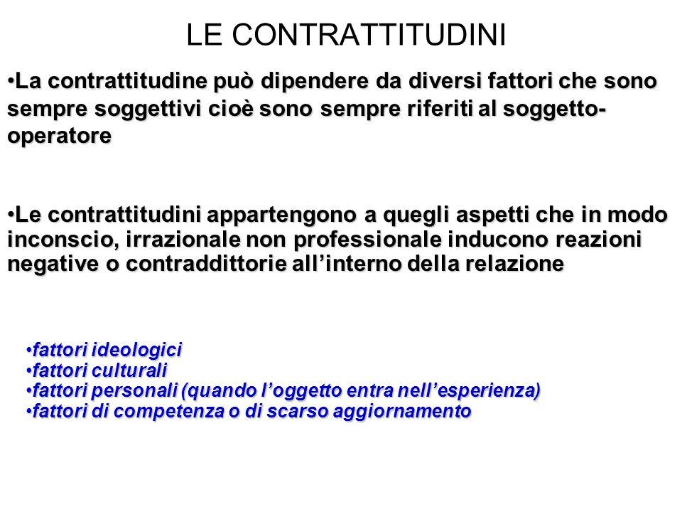 LE CONTRATTITUDINI La contrattitudine può dipendere da diversi fattori che sono sempre soggettivi cioè sono sempre riferiti al soggetto- operatoreLa c